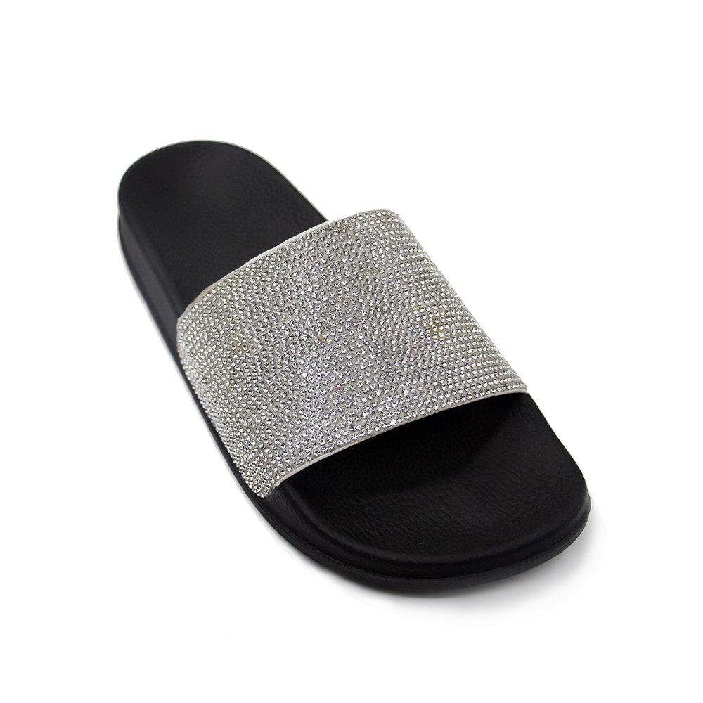 JOURNEI Women's Bling Sparkly Crystal Slides Sandals