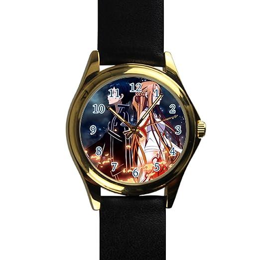Tiempo Walker Hombre Fácil de leer csdby16618657 Sword Art Online Electric Asuna sublimación pantalla analógico amarillo Dial reloj de pulsera: Amazon.es: ...