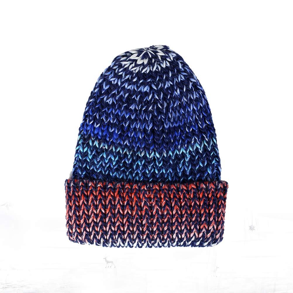 Blue Winter Warm Cap Fashionable Woolen Yarn Cap Assorted Colors Outdoor Knitted Hat for Men Women Male