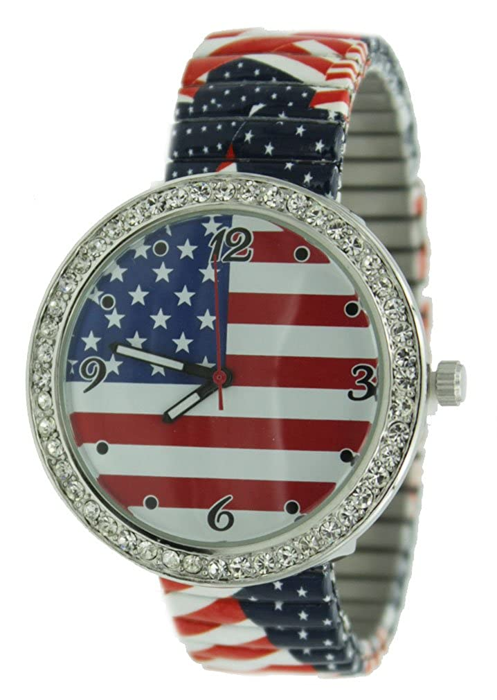 Amazon Ladies Usa Flag Printed Stretch Band Watch With Crystal