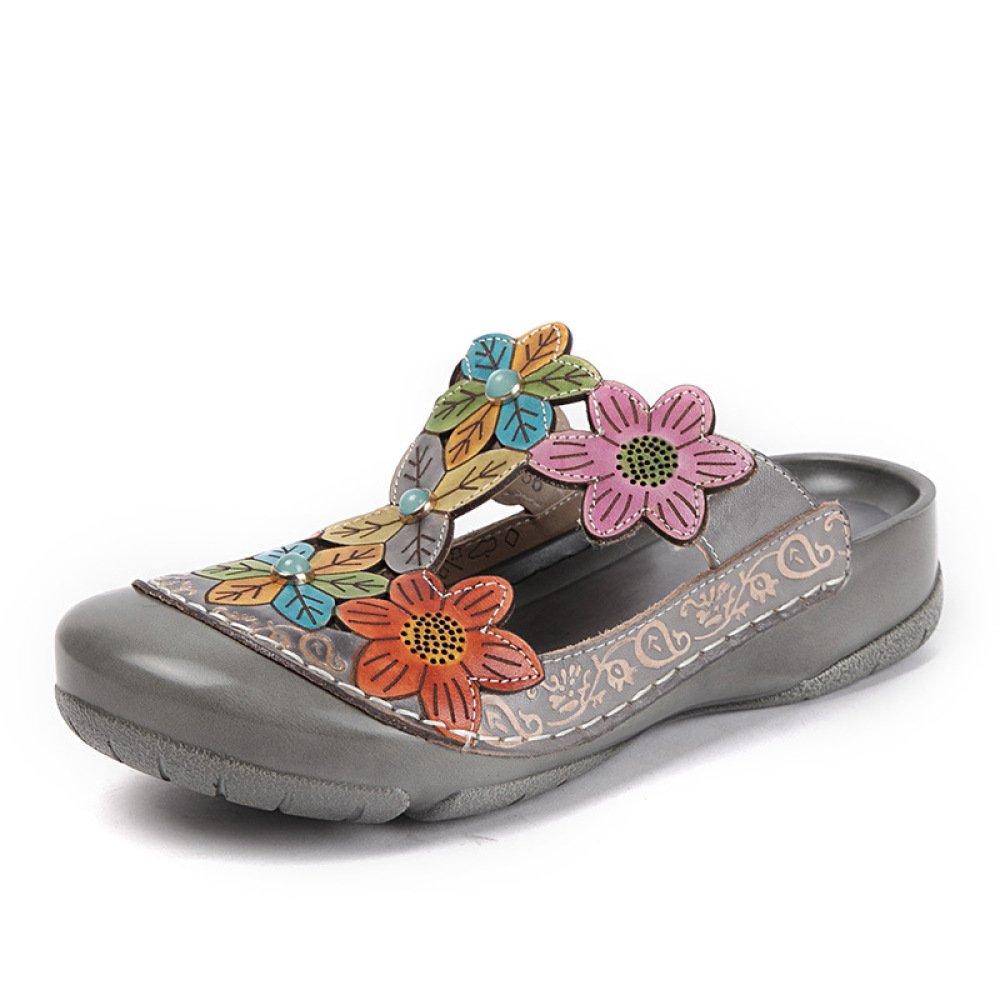 ZFNYY Groszlig;e Sandalen und Hausschuhe Baotou Hohlen Blume Ethnischen Stil Frauen Schuhe Keil im Freien Halbe Hausschuhe Dick  36 EU|Gray