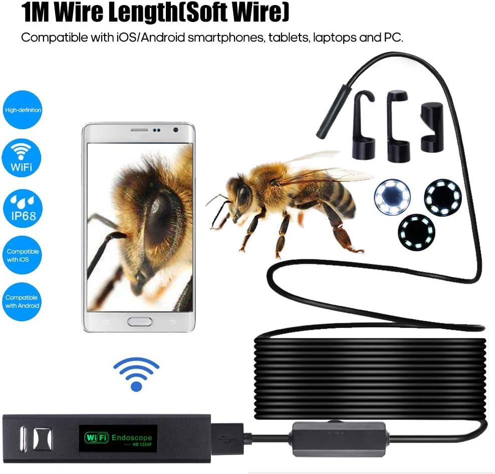 KKmoon Endoscope 1200P Endoscope WIFI Cam/éra dinspection 8pcs LED 8mm Lentille IP68 Endoscope Industriel /Étanche Compatible avec iOS//Android//Tablette//Ordinateur Portable//PC Endoscope Android