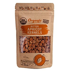 Organic Raw Bitter Apricot Seeds (1LB) 16oz - Bigger Bitter Apricot Kernels - Exceedingly Bitter Raw Apricot Seeds - %100 USDA Certified, Non GMO- Pesticide and Herbicide Free- Turkey Grown