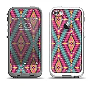 The Pink & Teal Abstract Mirrored Design Skin Set for the Apple iPhone 5-5s LifeProof Fre Case (Skin Only)