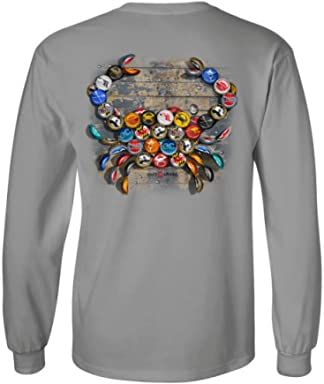 9528bf521 Route One Apparel | Natty BOH Bottle Cap Maryland Blue Crab Long Sleeve  Shirt in Light