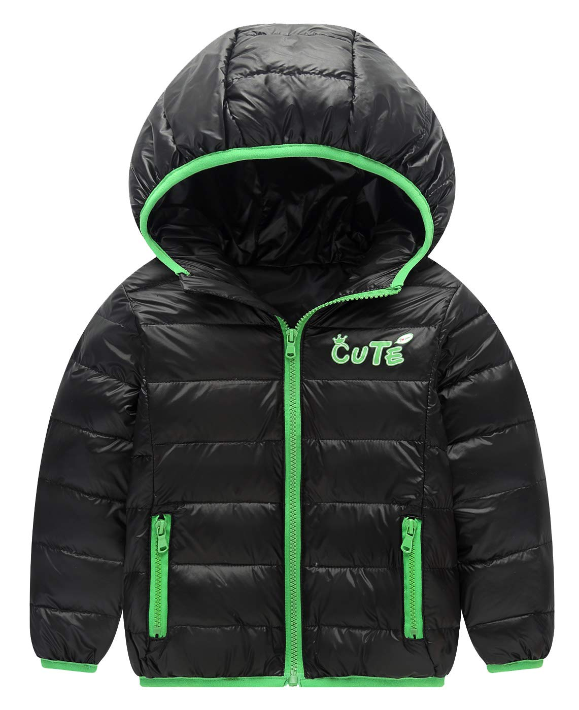 Toddler Winter Puffer Down Warm Coat Thicken Zipper Hoodie Outwear Lightweight Windproof Jacket 2-3T Orange Happy Cherry