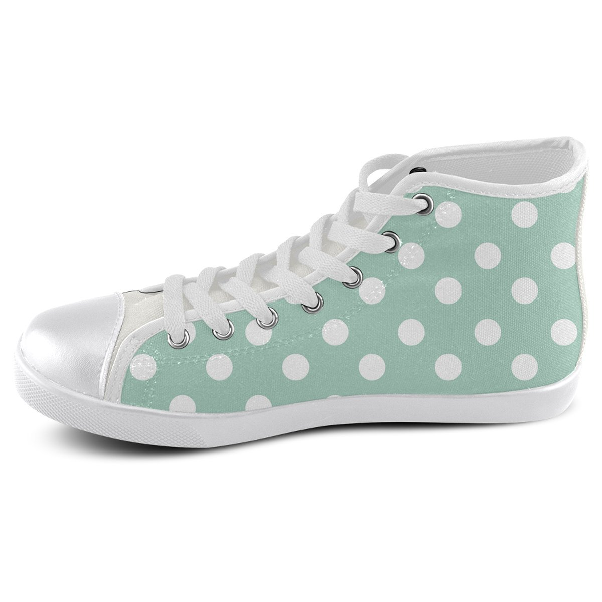 Model002 Artsadd Custom Aqua Polka Dots High Top Canvas Shoes for Men