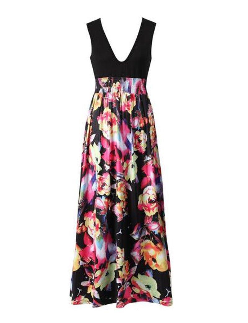 Vestidos de cuello V largo Floral de las mujeres