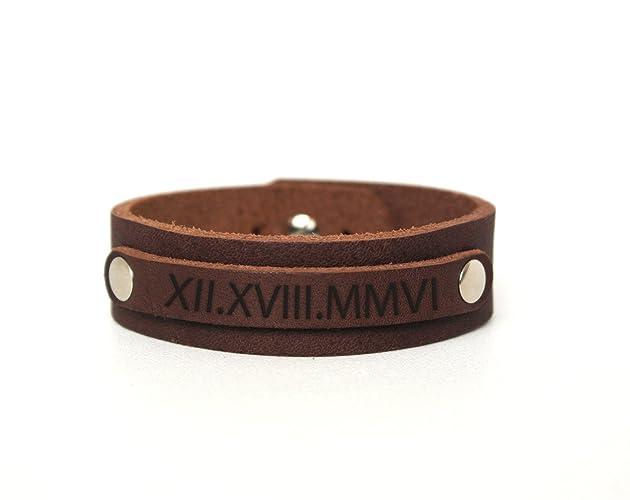 d051ab066ff3b Personalized Leather Bracelet Engraved / Custom Name Bracelet / Brown  Leather Personalized Bracelet / Leather Bracelet Men and Women, Mens  Bracelet ...