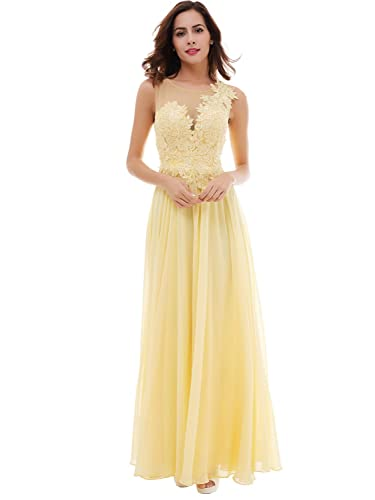 Tanpell Womens Sheer Neckline Appliques Lace-Up Prom Evening Dress