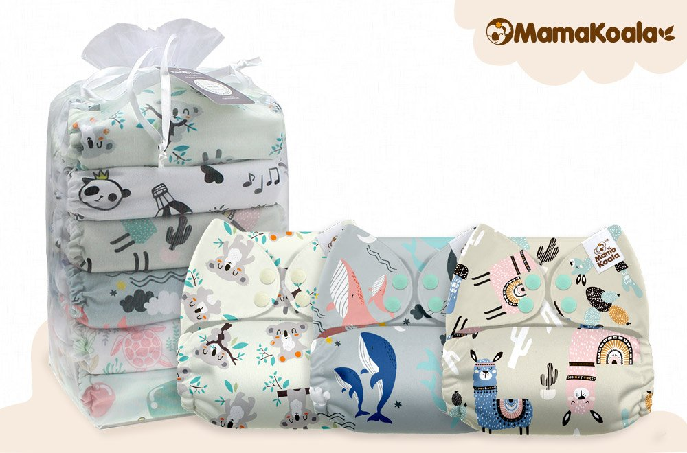 Mama Koala One Size Baby Washable Reusable Pocket Cloth Diapers Pets Harbor 6 Pack with 6 One Size Microfiber Inserts