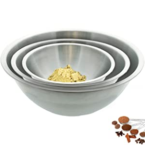 Tiger Chef Large Mixing Bowls Set Stainless Steel 13, 16, and 20 Quart Multi-Purpose Commercial Week (Set of 3)