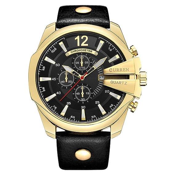 Curren 8176 Correa de Cuero Relojes de Hombre Top Marca de Lujo Popular de Oro Calendario Militar Reloj de Cuarzo Hombre: Amazon.es: Relojes