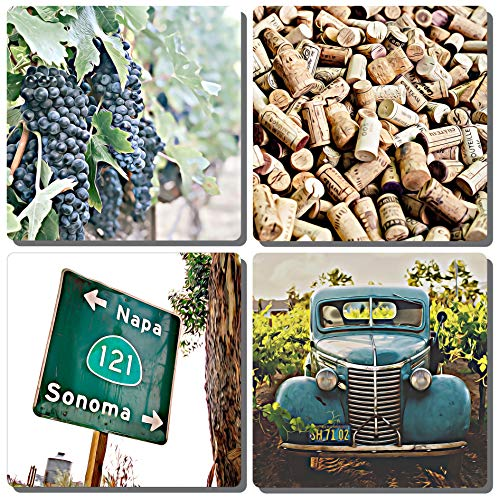 EXIT82ART - Stone Drink Coasters (Set of 4). Wine Country. Tumbled Stone, Cork-backed.
