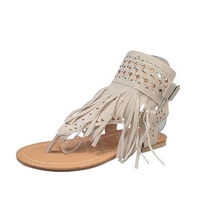 e2c66399a926 LIBERVIV Women Stylish Flat Tassel Thong Sandals Summer Casual Gladiator  Shoes Plus Size EU 35-