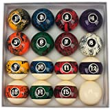 GSE Games & Sports Expert 2 1/4-Inch Professional Regulation Size Marble Swirl Style Billiards Pool Ball Complete Set