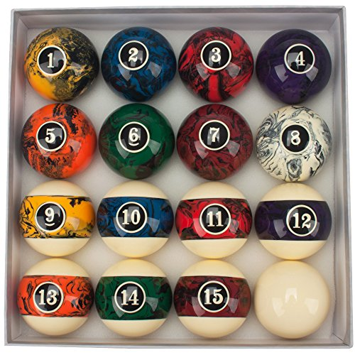 GSE Games & Sports 2 1/4-Inch Regulation Size/Weight AAA Grade Dark Color Marble Swirl Pool Ball Set Marbled Billiard Balls, Complete 16 Ball Set
