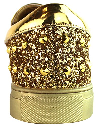 Faranzi Casual Men's Rivet Studded Low-Top Fashion Sneaker Shoes Gold M41531 wholesale online q3PGWIjW