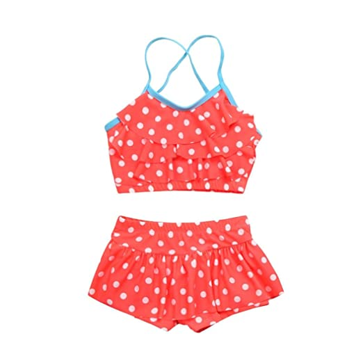 266865f3f0 Amazon.com: Sagton® Baby Girls Swimsuit, Toddler Two Piece Polka Dot Ruffle Swimwear  Bathing Suit (Red): Clothing