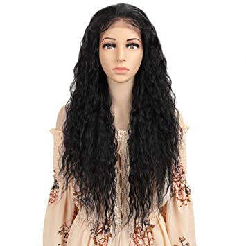 Amazon Com Remy Forte Free Parting 13x4 Lace Frontal Wigs Synthetic Long Curly Hair Wigs 195 Grams 30 Inches 1b Beauty