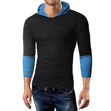 Longra☀ 2018 Mens Pure Color Joint Fastener Stitching Hoodie Camisa de Manga Larga Top Blusa