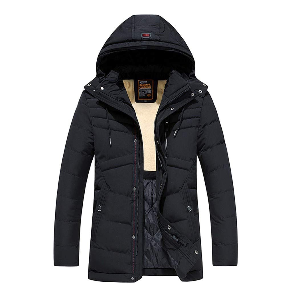 Benficial Men's Winter Mid-Length Pure Color Thickened Hoodie Cotton-Padded Jacket Coat Black by Benficial