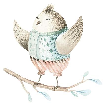 Pegatina de pared Guardería en acuarela Pájaro bailarín en ...