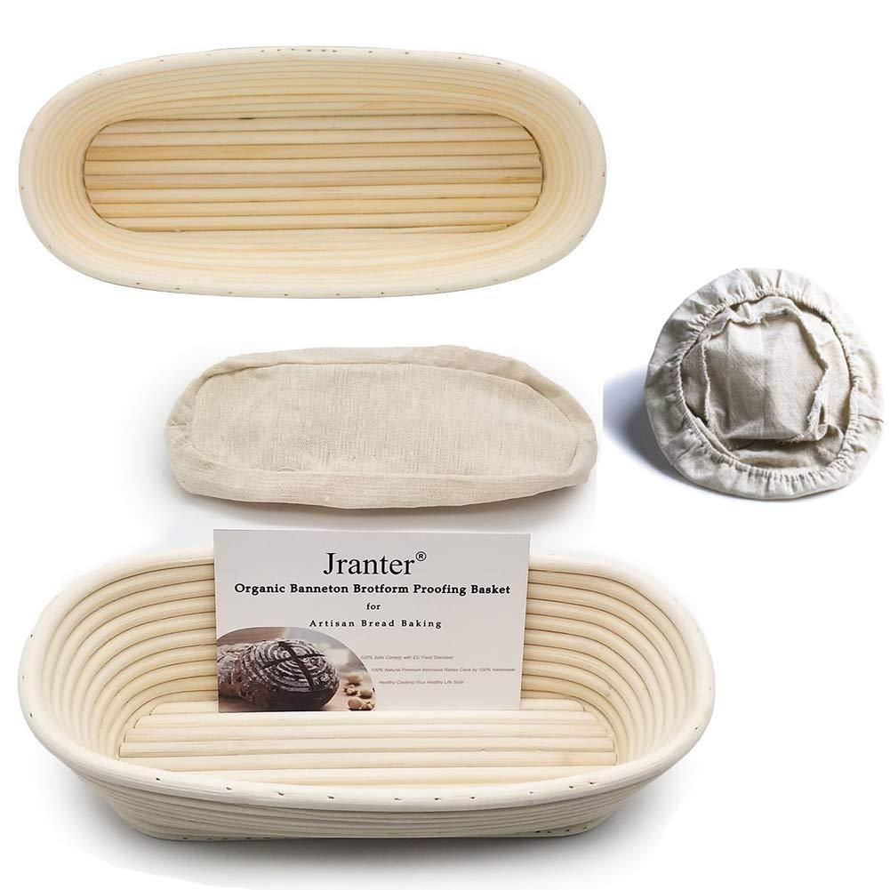 2 Pcs Oval 12 inch Banneton Brotform Bread Proofing Basket Natural Rattan Cane Handmade & Linen Liner Cloth by Jranter (Image #1)