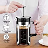 Veken French Press Coffee Maker 304 Stainless Steel 4 Filter Screens Durable Easy Clean Heat Resistant Borosilicate Glass, 34 oz, Silver