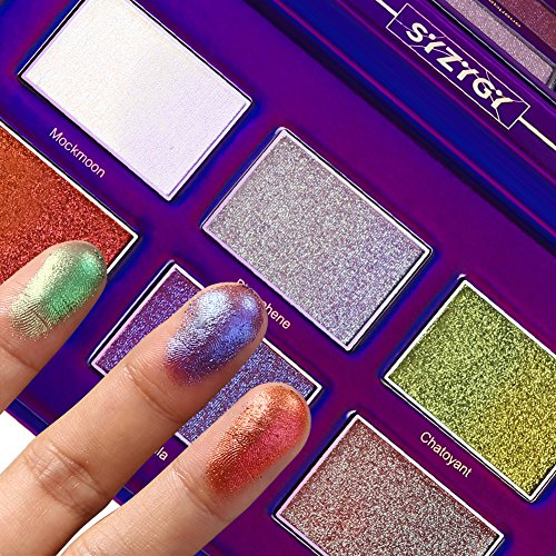 SYZYGY Eyeshadow Palette Shimmer + Glitter + Metallic - Highly Pigmented Waterproof Face Lips Multi-Purpose Make Up Eye Shadow with Mirror 6 Multicolours