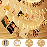 Adecorty 40 LEDs Photo Clips String Lights/Holder, [Remote & Timer] Fairy String Lights with 16.4ft 3xAA Batteries Powered Ideal Gift for Baby Teen Girls Bedroom Wedding Decor (Warm White 8 Modes)