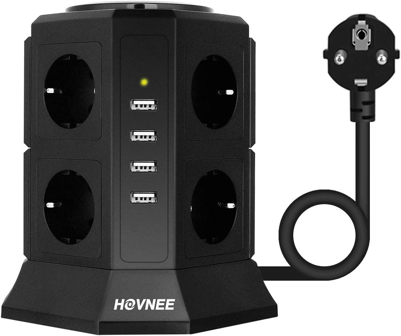 HOVNEE Regleta Vertical Torre Enchufes proteccion sobretension de 8 Tomas Corrientes y 4 Rápida USB Tomas, Cable de extensión de seguridad de 2m y Interruptor, Tapón de Seguridad, 2500W/10A