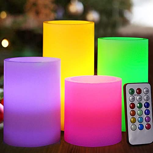 HOME MOST Set of 4 Flickering Real Wax Flameless LED Pillar Candles with Remote 3×3 3×4 3×5 3×6 Multi Colored – Unscented Battery Operated Pillar Candles Bulk – Color Changing Candles