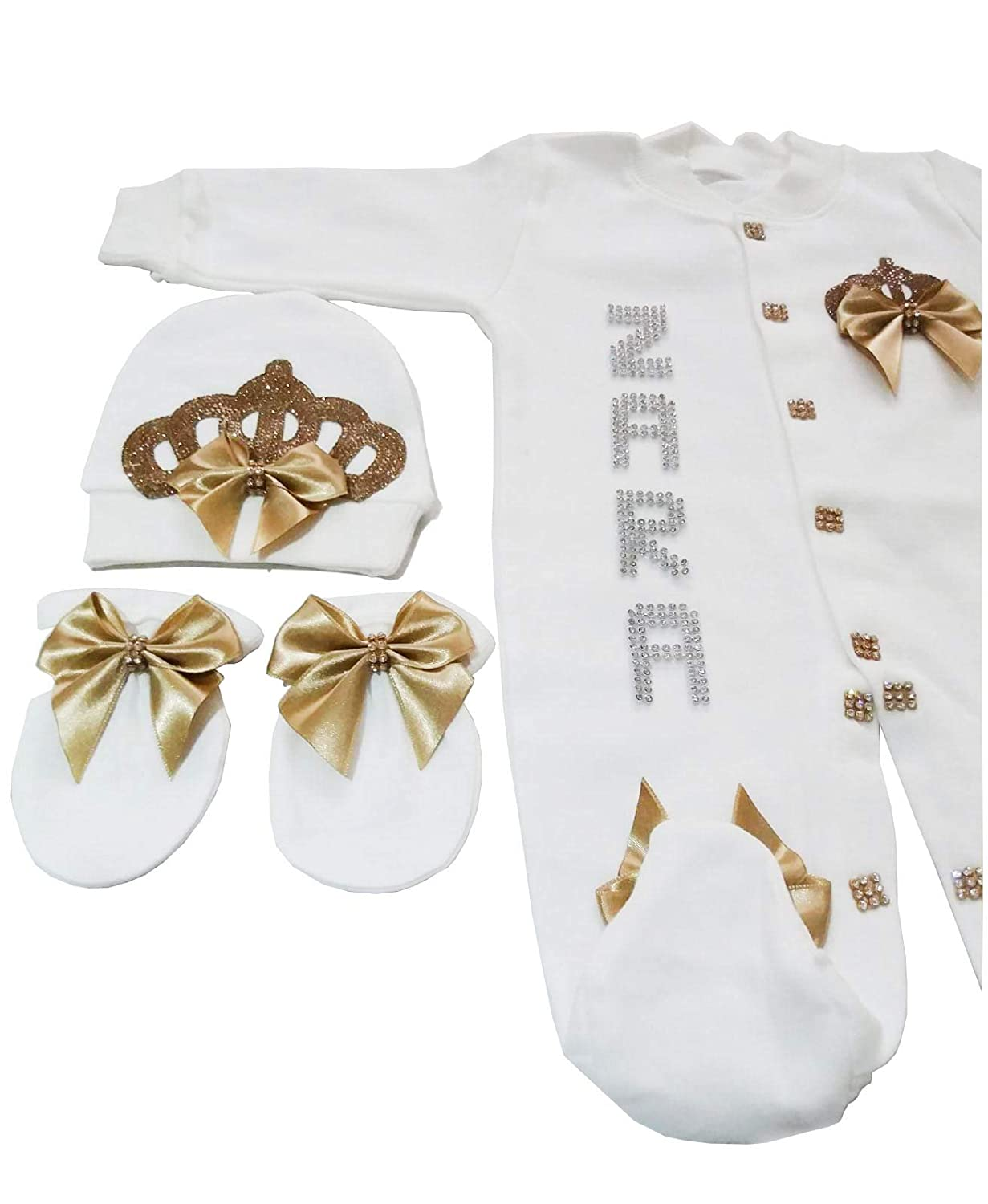 0-3 and 3-6 Months Newborn Baby Girl Crown and Jewel Home Coming 3 Piece Romper Set