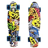 Ancheer 22 Inch Mini Cruiser Skateboard Plastic Banana Board Retro Style Complete Skateboards, Christmas Birthday Gift for Kids Age 5+