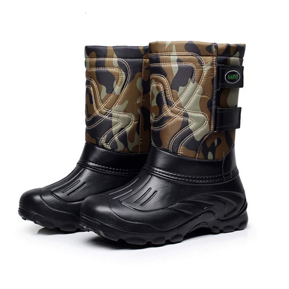 Hy Herren Skischuhe, Winter Slip-Ons Plus samt warme Winddichte Wasserdichte Schnee Stiefel Stiefel Outdoor-Übung (Farbe : Land Grün, Größe : 41)