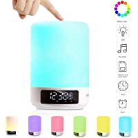 KEYNICE Touch Control Table Lamp with Bluetooth Speaker LED Bedside Desk Lamp Dimmable RGB Multi-Color Changing Night Light with Alarm Clock, TF Card Slot, Hands-free & Timing Function for Home-White