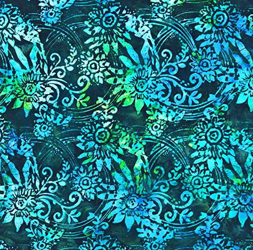 Wide Quilt Backing Batik Night Sky Green Black Blue Cotton Batik 90 x 106 Inches ()