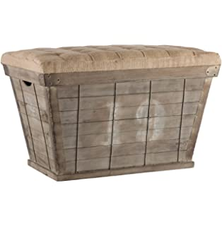 Exceptional Kathy Kuo Home French Country White Lettering Long Storage Crate Burlap  Ottoman