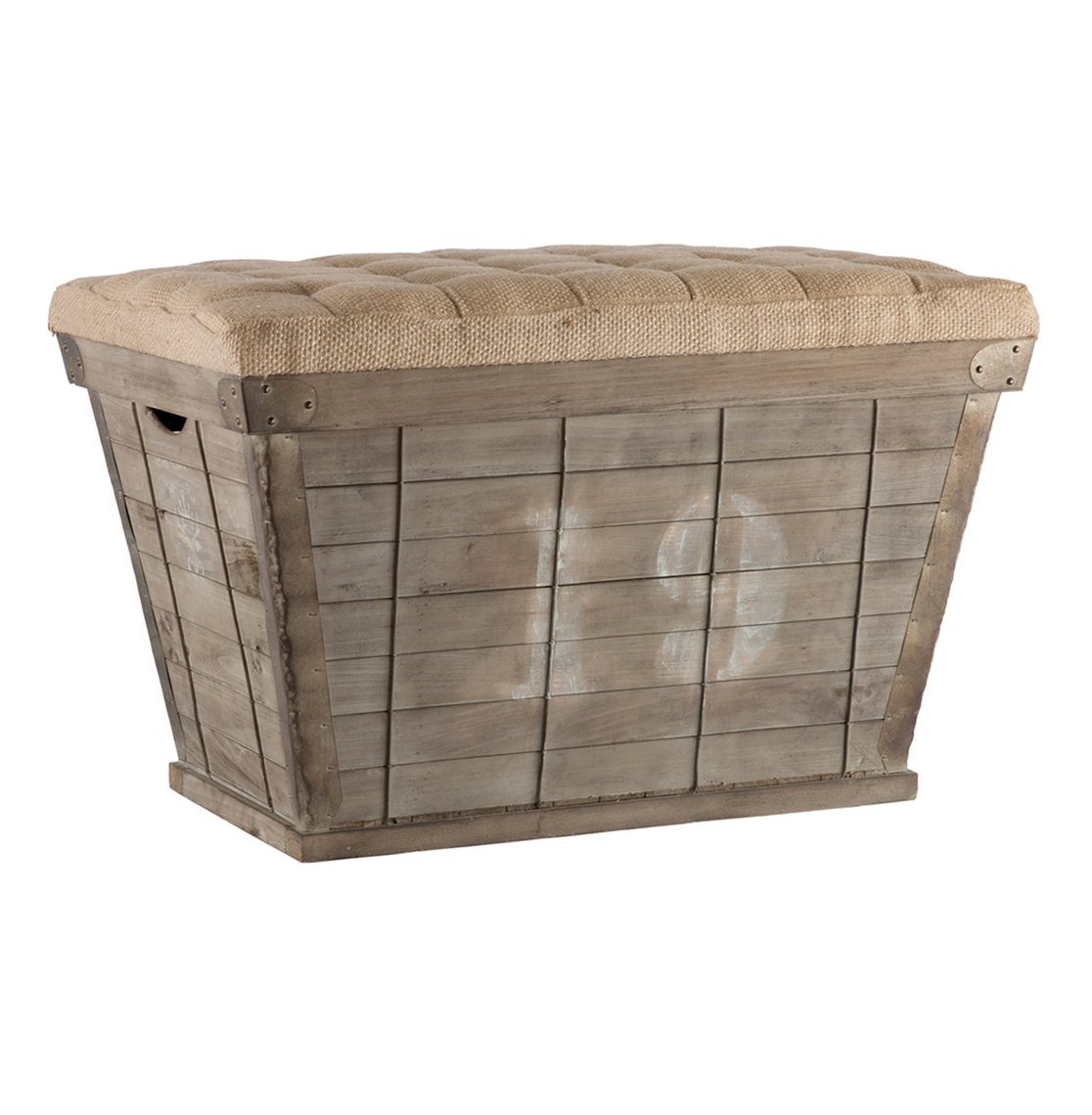 Amazon.com: French Country White Lettering Long Storage Crate Burlap Ottoman:  Kitchen & Dining