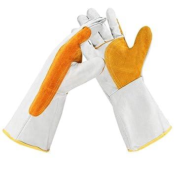 Hongyan Gloves Guantes de Soldadura de Cuero, Gruesas y durables Resistencia de Alta Temperatura Soldador Aislamiento térmico Aislamiento del Horno de Fuego ...