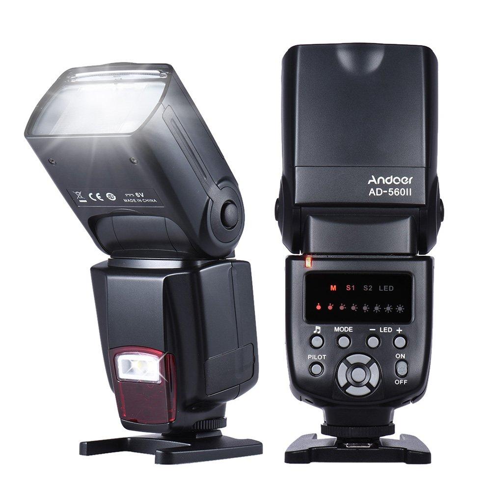 Andoer AD-560Ⅱ Universal Flash Speedlite On-Camera Flash GN50 Adjustable LED Fill Light for Canon Nikon Olympus Pentax DSLR Cameras