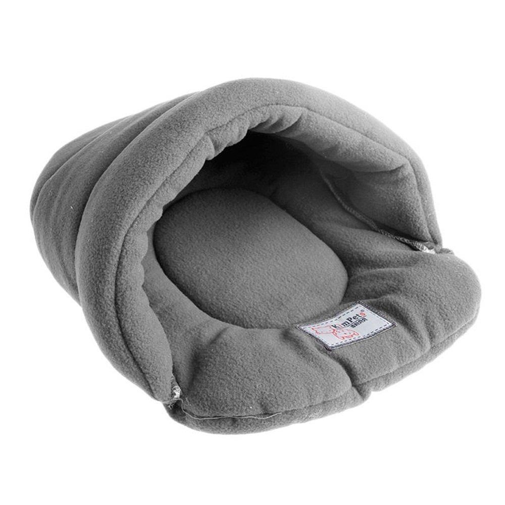 Pet Bed House Soft Warm Plush Soft Cozy Nest Mat Pad Cushion Cat Dog (L (22.83''x26.77''), Gray)