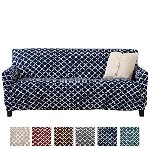 Home Fashion Designs Printed Stretch Sofa Furniture Cover Slipcover Brenna Collection, Navy ()