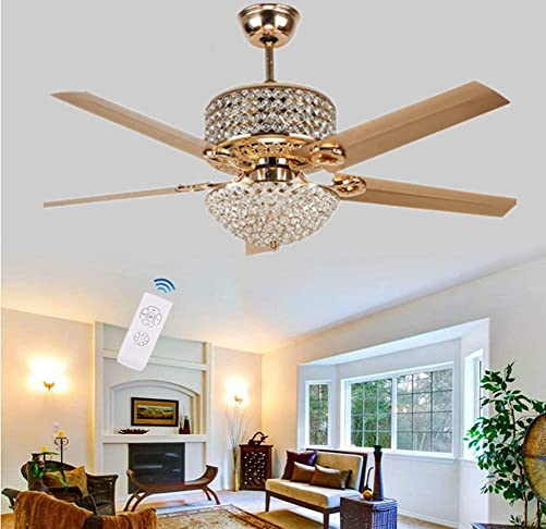 52Inch Antique Crystal Ceiling Fan Light