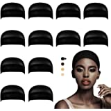 Dreamlover 12 Pack Stocking Wig Caps, Black