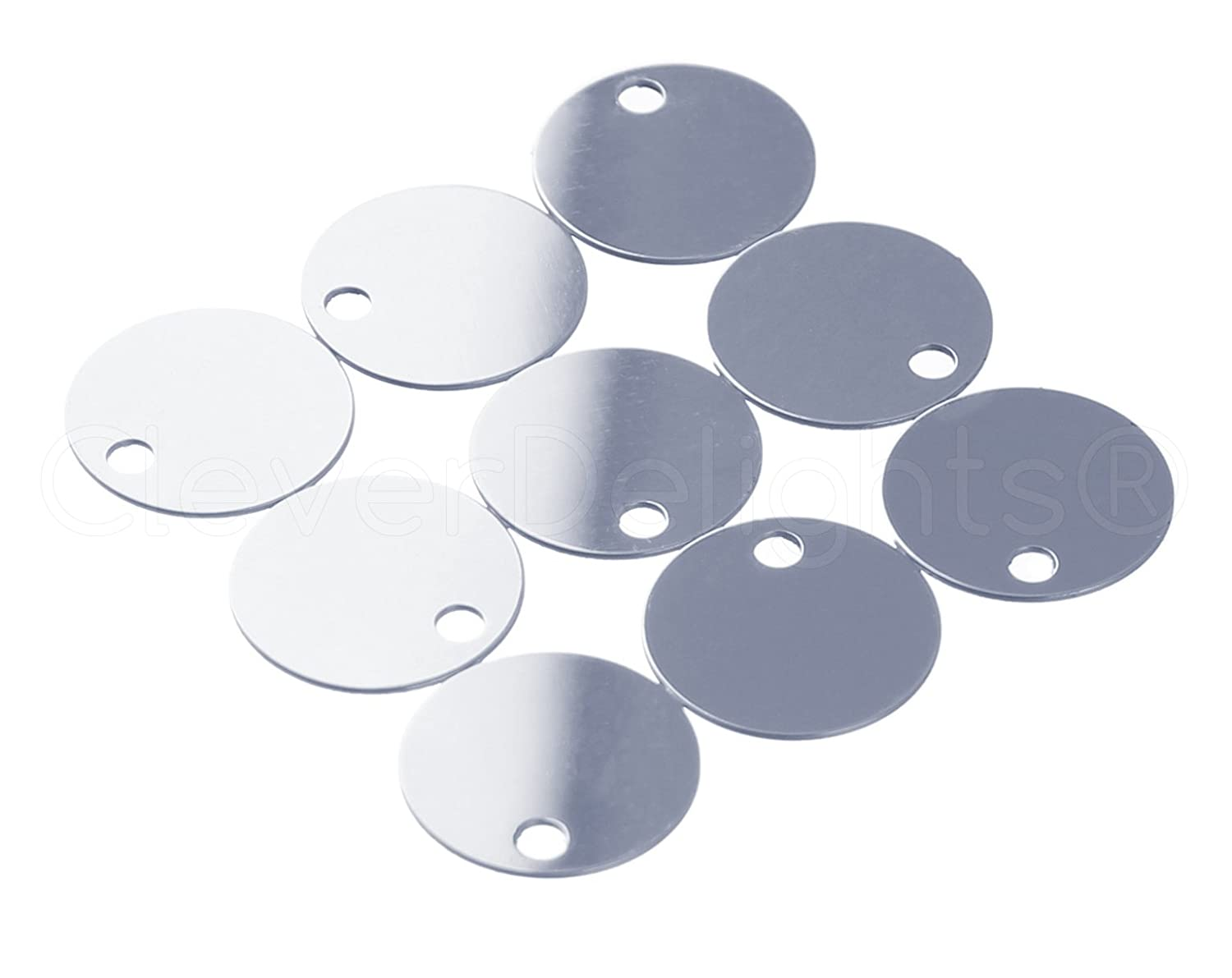 .025 Shiny Anodized Finish CleverDelights 3//4 Round Aluminum Stamping Blanks 25 Pack 22 Gauge