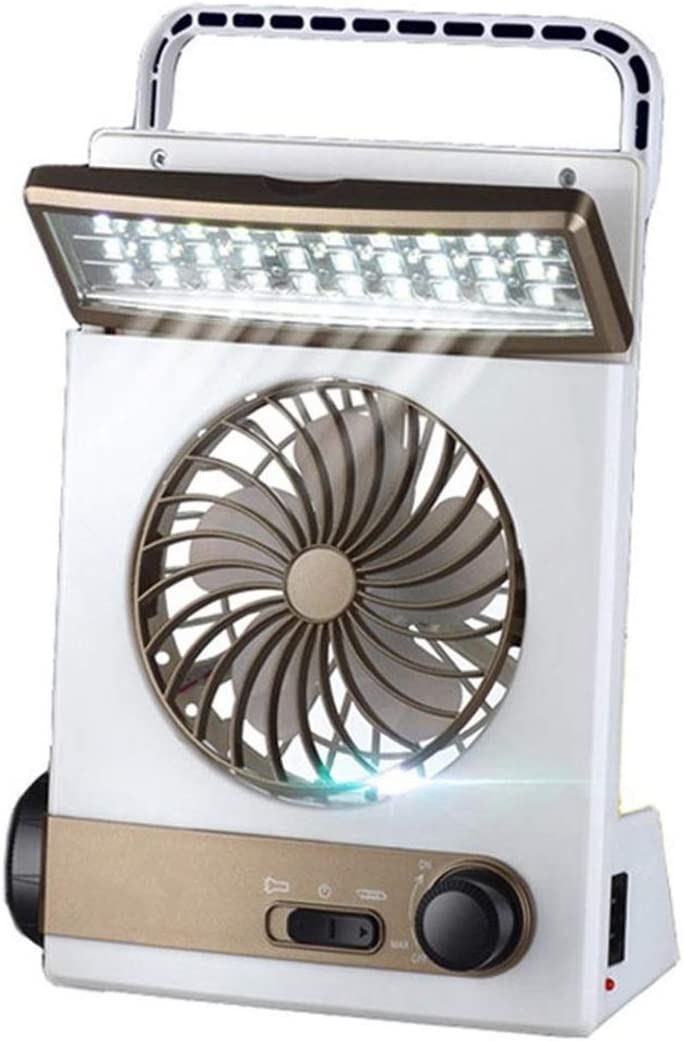 HAOXIONG-ZHANG Solar Power Rechargeable Multifunctional Cooling Fan and LED Lightheaded for Tenting Electric Fan