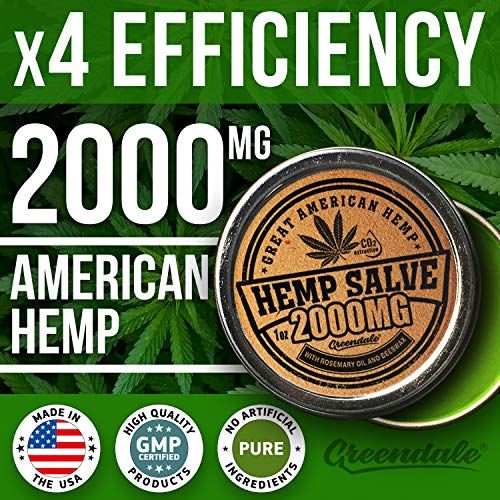 61oU%2B4VbXHL - Hemp Oil Salve for Pain Relief - 2000 Mg - Fast Acting & Natural - Knee, Muscle, Joint, Neck & Back Pain Relief - Premium Hemp Oil Made in USA - Anti Inflаmmаtory Hemp Balm - MAX Efficacy - No GMO