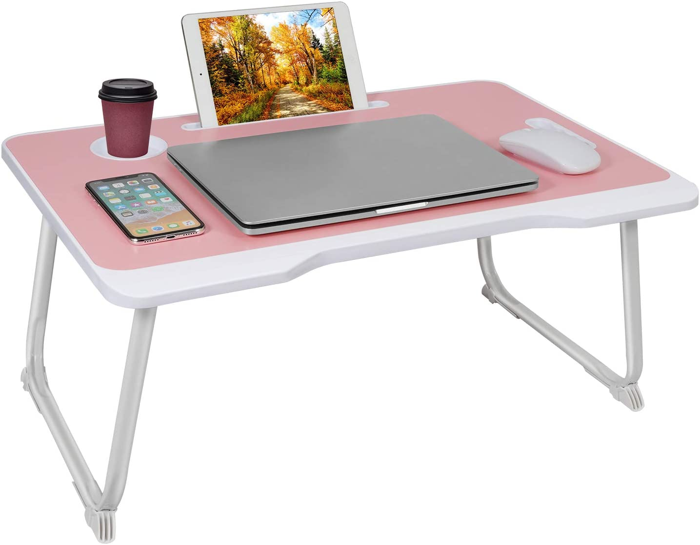 Laptop Bed Tray Table,Foldable Lap Desk Stand with Cup Holder, Kids Adults Students Cute Multifunctional Lap Bed Desk,Suitable for Eating, Working, Writing, Gaming, Drawing (Pink-White)